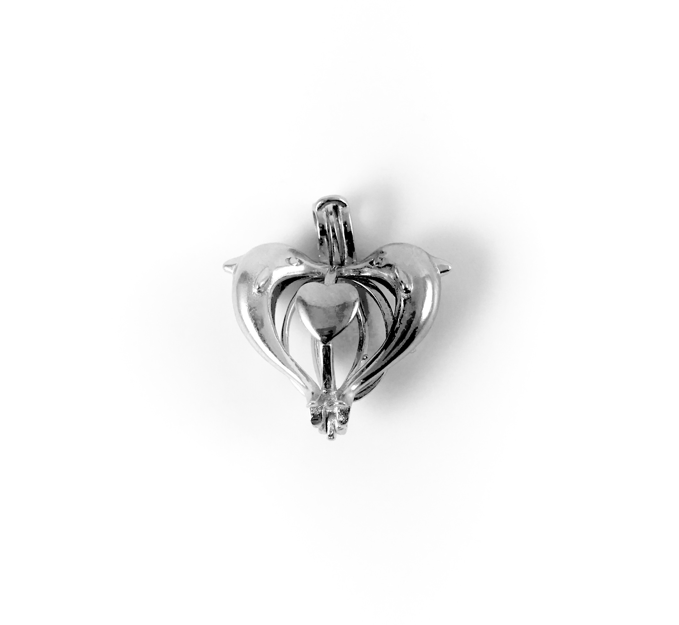 Sterling Silver Double Dolphin Pearl Pendant