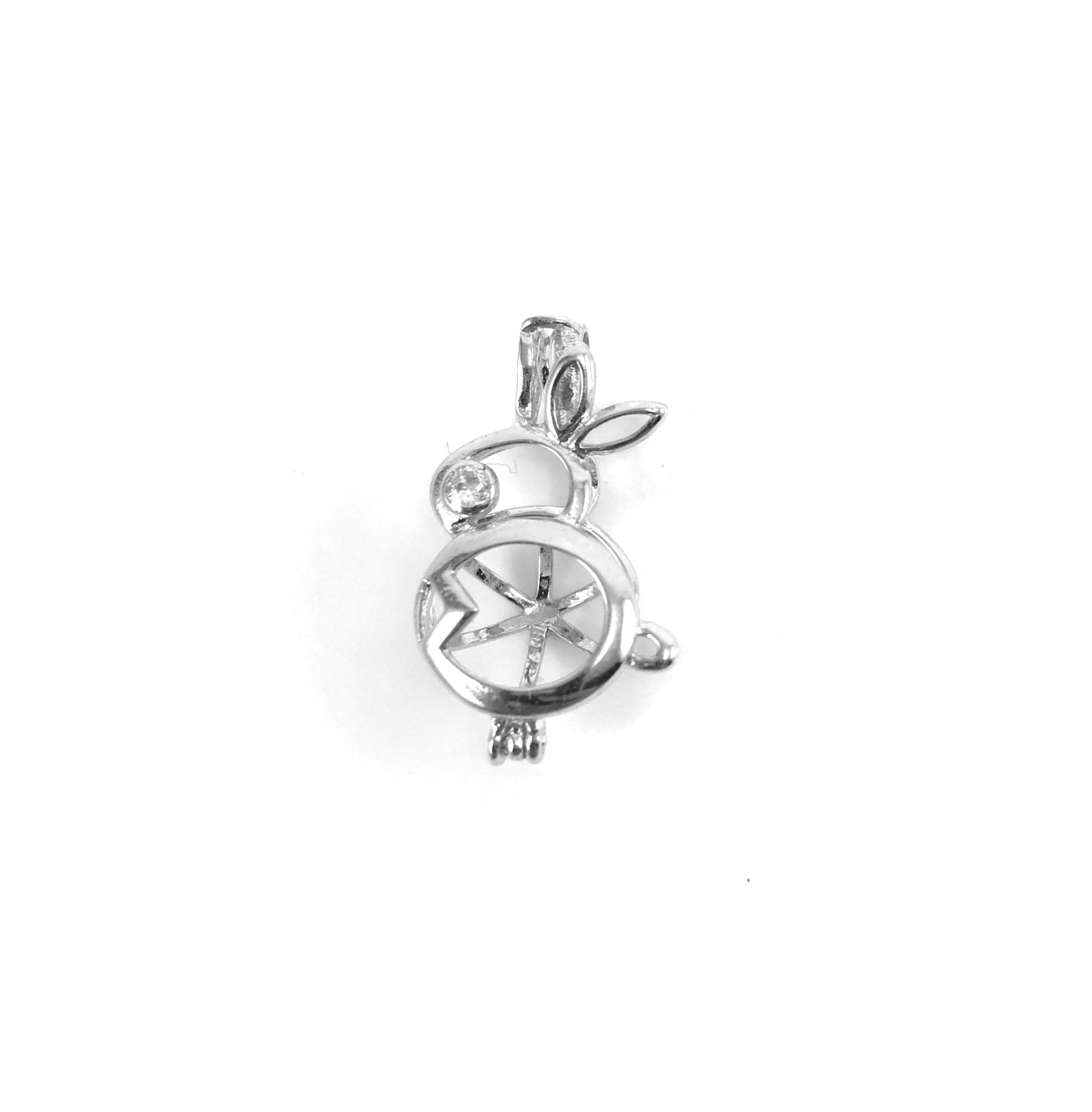 Sterling Silver Bunny Pearl Cage